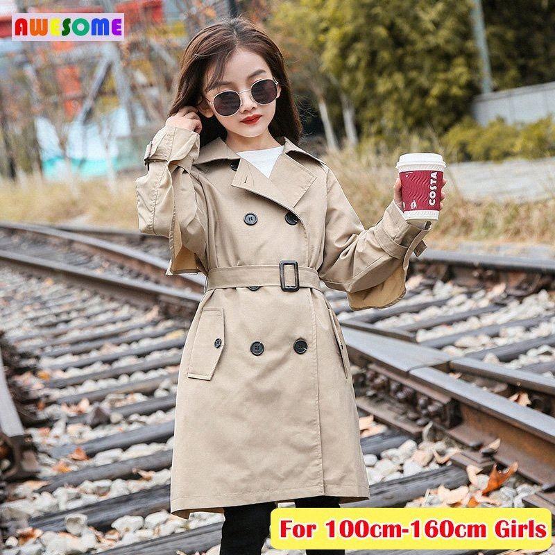 2020 Büyük Çocuk Dış Giyim Pamuk İngiliz Stil Trençkot Kız Moda Uzun WINDBREAKER ceketler 4 6 8 9 10 11 12 13 14 Yıl Ceket zU49 #