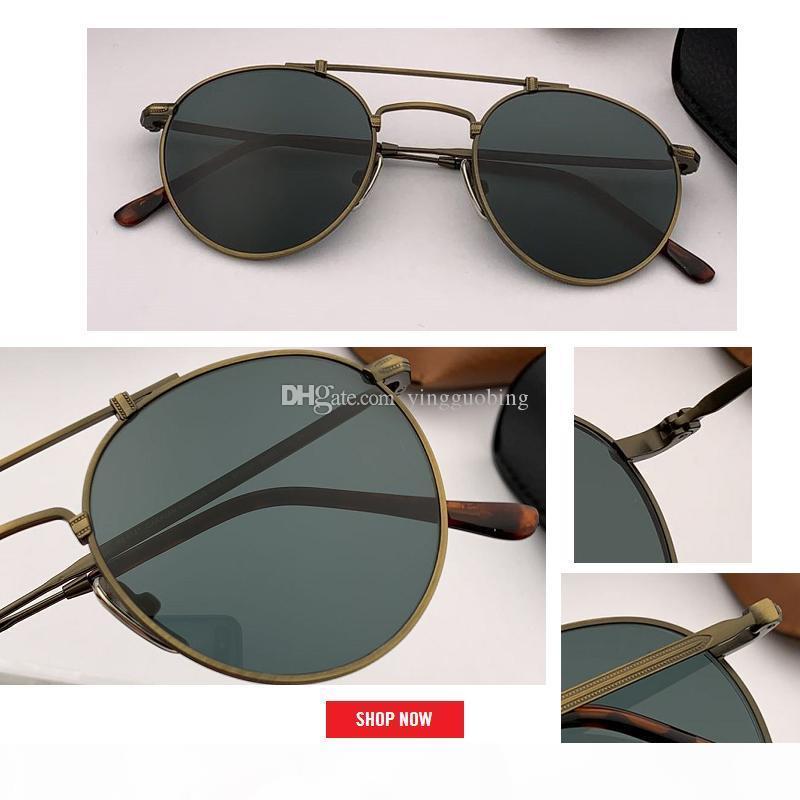 2019 Calle Ronda de metal de la vendimia gafas de sol de las mujeres del espejo retro clásico del golpe de la vendimia de los vidrios de los hombres de conducción Gafas de Sol Gafas 8147 50mm