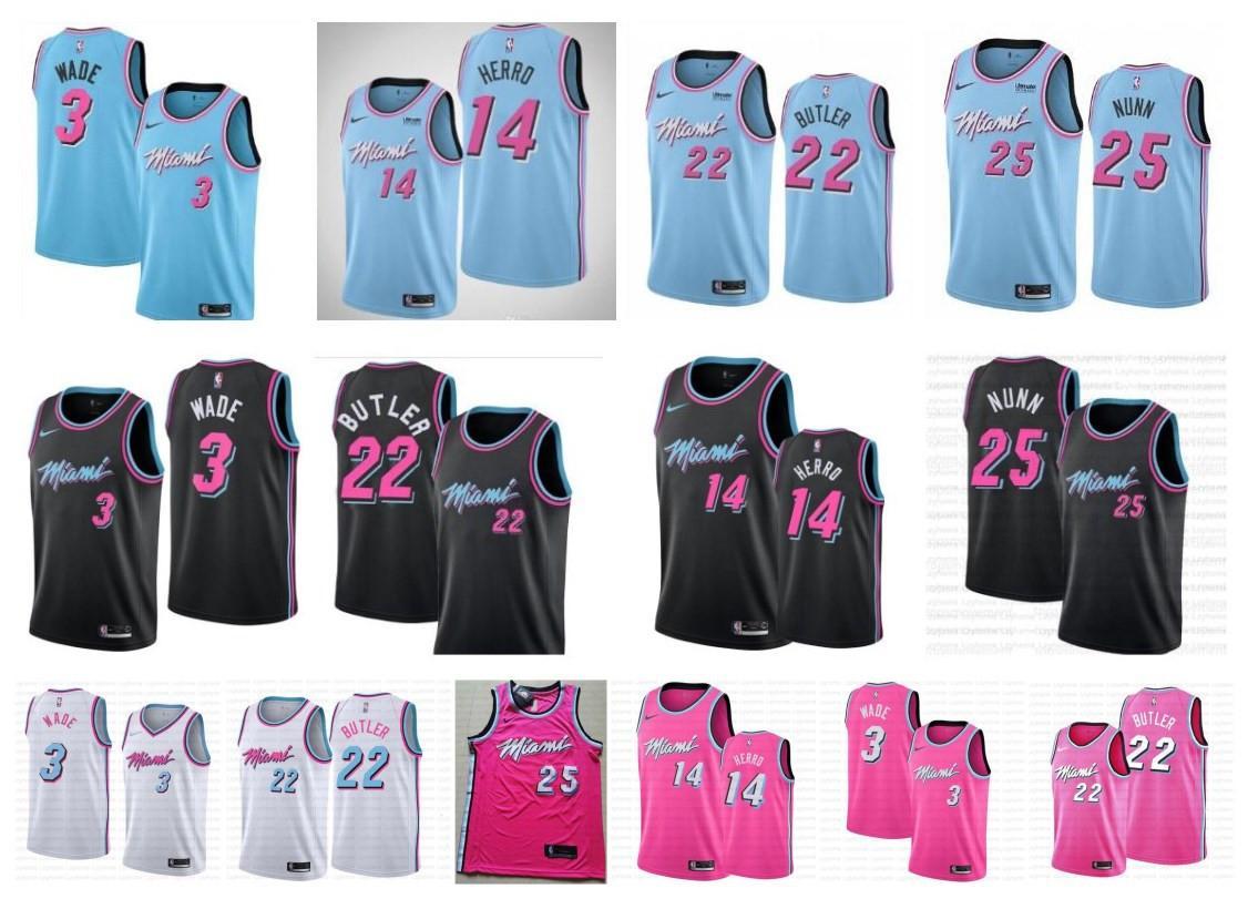 Erkekler Miami Vice City Kazanılmış Sürümü Dwyane Dwayne 3 Wade Jersey Isı Tyler 14 Herro Jimmy 22 Butler Kendrick basketbol formaları dikişli