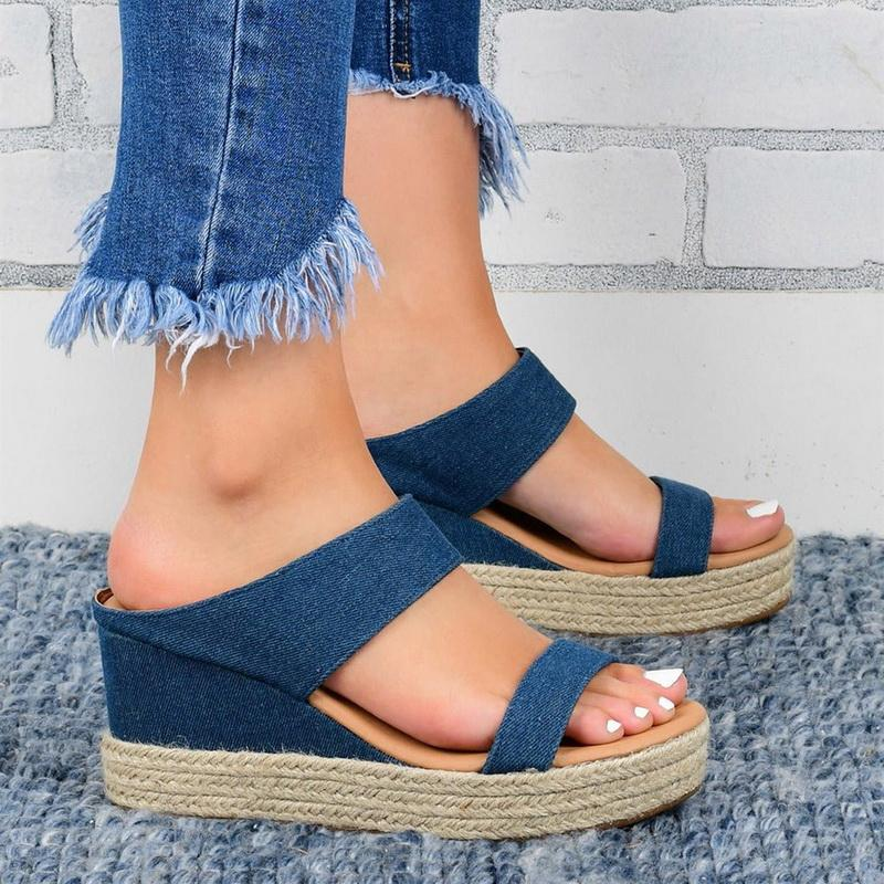 UEFEZO Kadınlar Sandalet Kayma-On Straw Açık Burun Kalın Dip takozları Günlük Ayakkabılar Artı boyutu Plaj Yaz Sandalet Terlik Ayakkabı