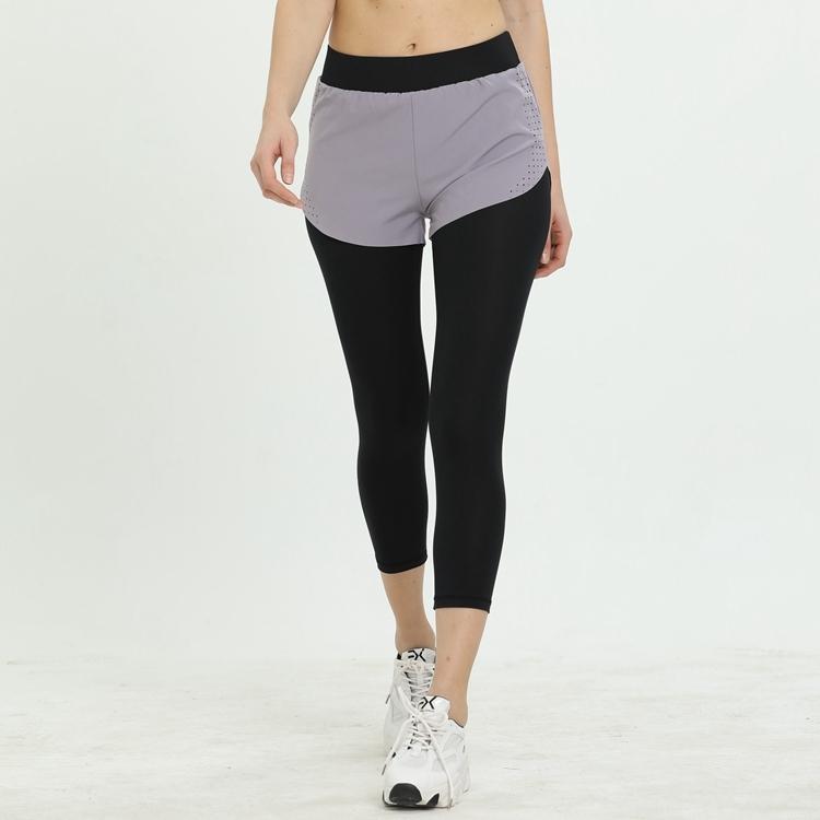 Renk HH6689 sahte iki parçalı spor sıkı kadınlar için fitness eğitim oktav şort çalışan açık germek