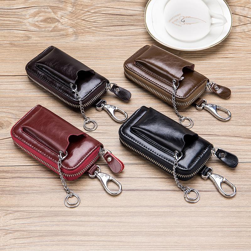 سيارة مفتاح حالة جلد الرجال النساء محافظ حامل مدبرة منزل يغطي زيبر سلسلة المفاتيح غطاء للمفاتيح المنظم بطاقة حقيبة الهدايا