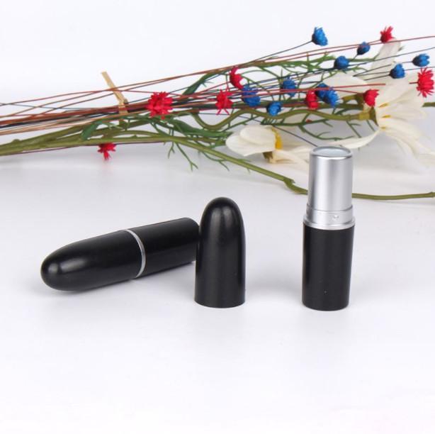 1000pcs batom tubo de cor preta, caso batom bala vazio, DIY bala recipiente forma batom