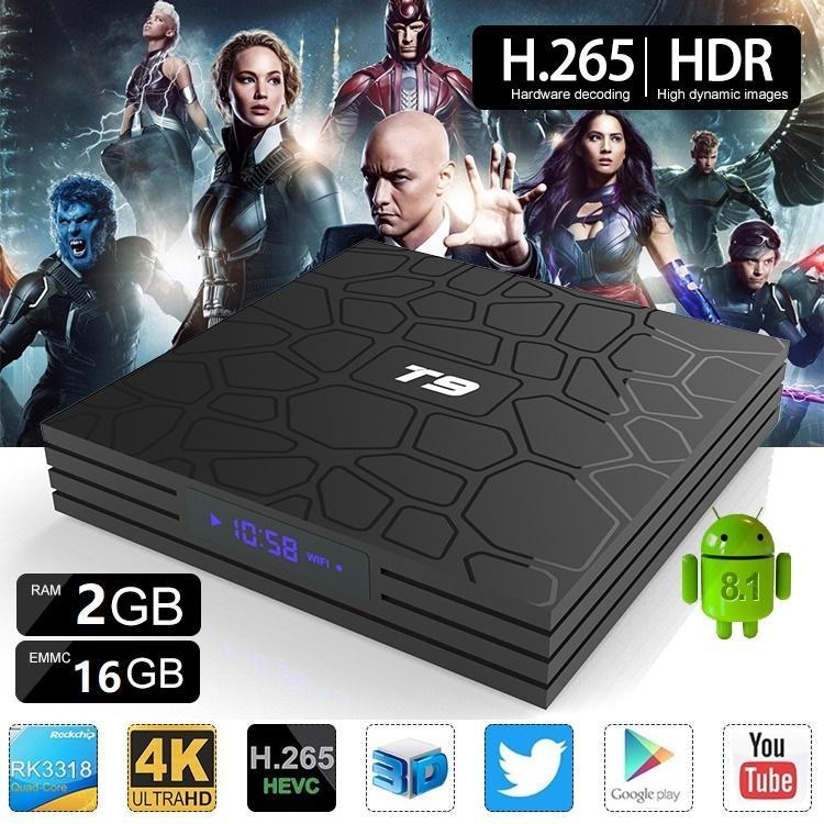 T9 Caixa de TV Android 9.0 RK3318 Quad Núcleo 2 / 4GB ROM 16/32 / 64GB RAM Media Player Suporte Smarttv Dual Wifi Bluetooth