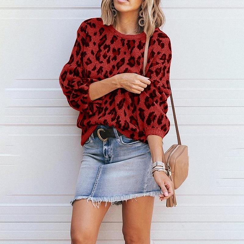 vestiti 2019 autunno e l'inverno delle nuove donne maglione Via manica lunga di base maglia maglione stampa leopardo allentato