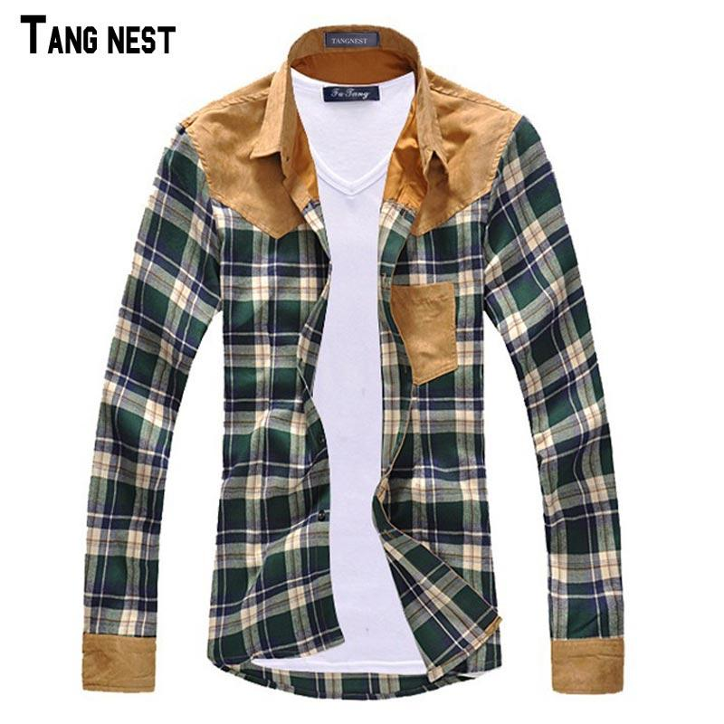 TANGNEST Men Shirt Vintage Hot-selling Men's Fashion Plaid Splicing Shirt Male Casual Long-sleeved High Quality MCL090