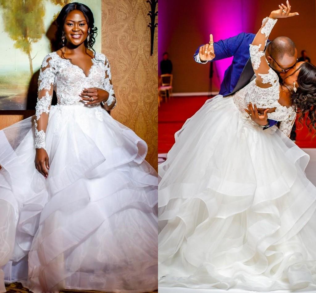 Ángel romántico falda de volantes vestido de novia blanca hinchada 2020 en capas de organza vestido de gala vestidos de boda Por tamaño mediano