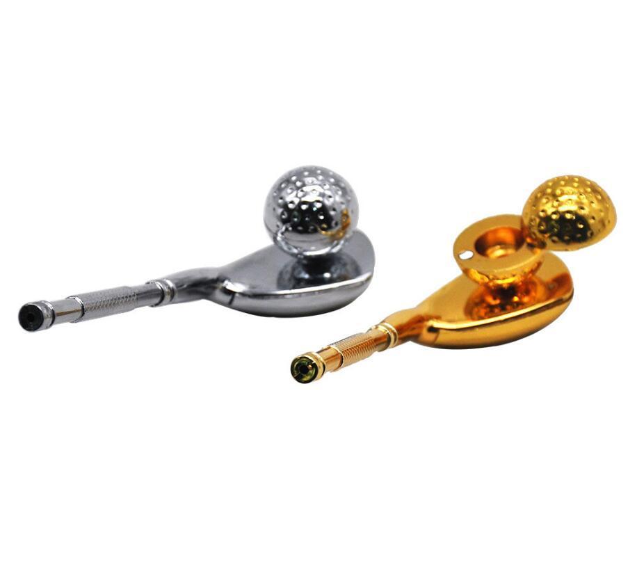 Plus récent Smoking pipe métallique Golf Style de creusage avec filtre à billes Porte-cigarette tabac Pipes main Tige droite Outils Accessoires
