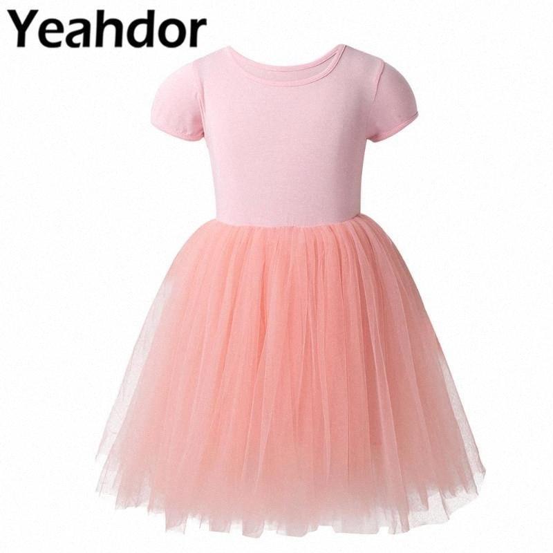 Blumen-Mädchen-Sommer-beiläufiges Kleid Kurzarm Rundhals T-Shirt Tutu Tüll-Kleid mittlere Kalb-Kind-Mädchen-Party-Prinzessin 2EZ1 #