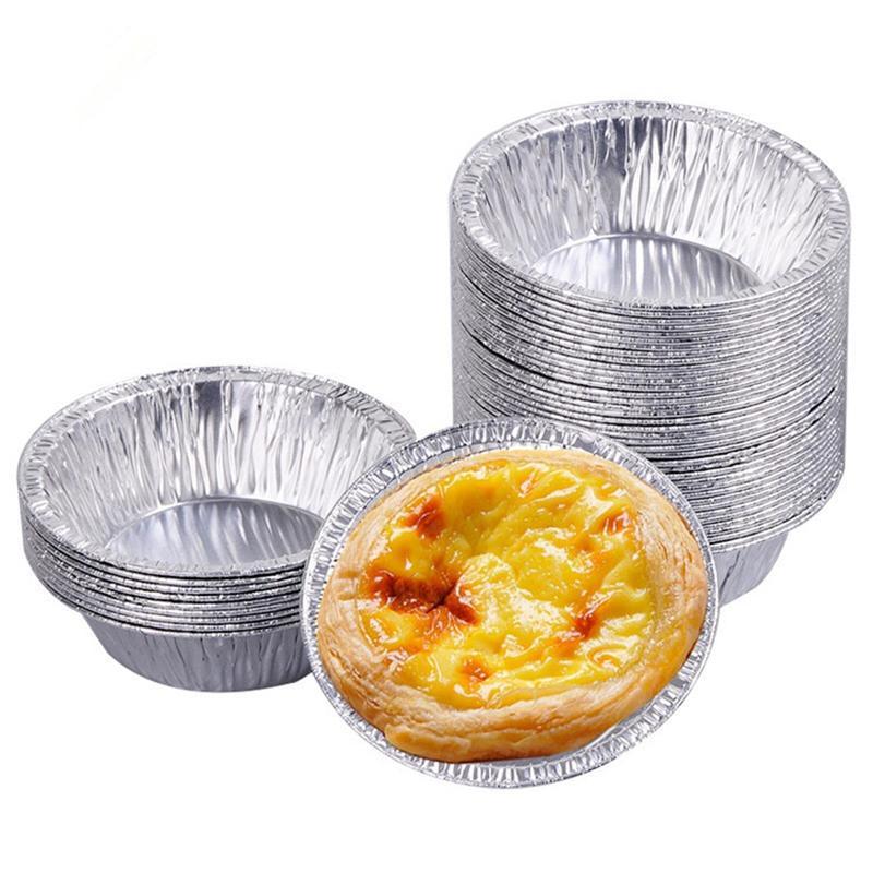 알루미늄 호일 에그 타르트 팬 일회용 베이킹 컵 원형 컵 케이크 케이스 미니 냄비 파이 금형 과자 도구 JK2007XB