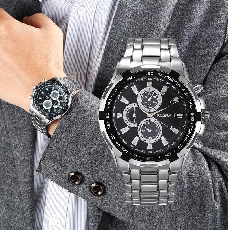 남성 패션 스테인레스 스틸 스트랩 세트 시계 높은 품질 캐주얼 시계 사업 크리스마스 선물 무료 배송