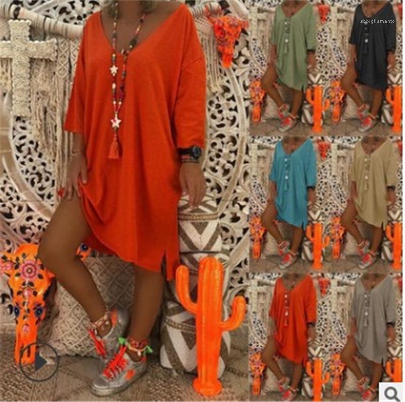 Vestido con mangas Famale Mini Ropa para mujer cuello en V vestido de diseñador de Split sólido del color del verano largo flojo