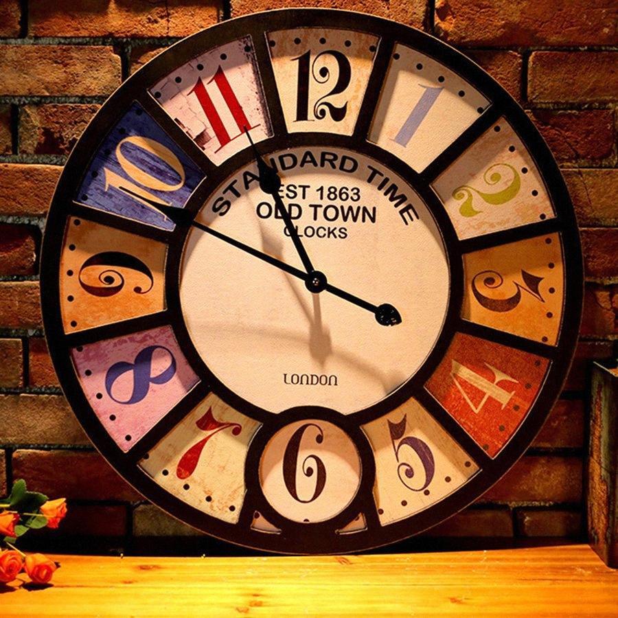 Mecanismo de Relógio de parede industrial criativo Vintage Bar Sala Decoração Cafe Wandklok relógio de parede Assista Home Decor 50Q033 E51C #