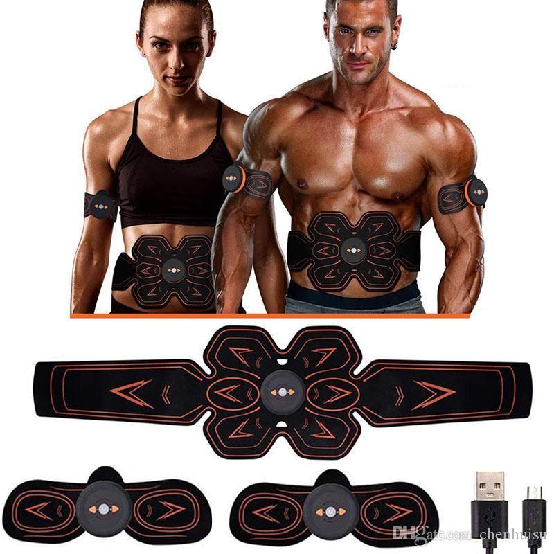 Hommes Femmes Muscle Stimulator abdominale Musculaire électrostimulation Electro Stimulateur ABS EMS Home Gym Belly bras Leg Massage USB Charged