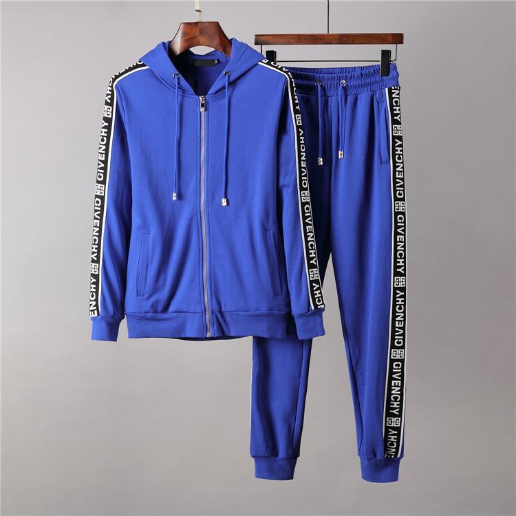 Para hombre del diseñador de moda chándales sudaderas juego del ocio traje deportivo largas mangas Negro azul rojo de los hombres sudaderas chaquetas abrigos