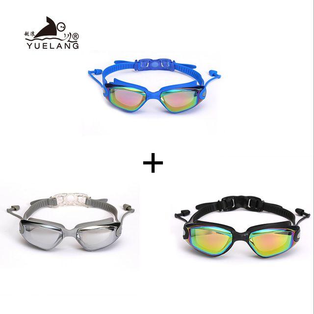 portas entretenimento 3 pcs natação óculos tampões Pull óculos impermeáveis Electroplate Anti-Fog Anti-UV Buckle Adulto Silicone professam ...