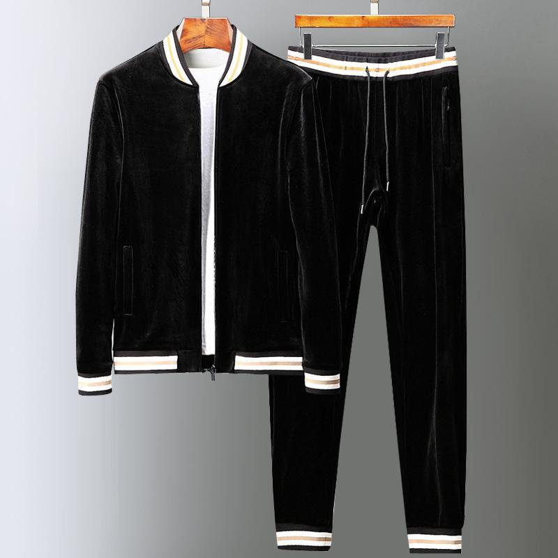 Новый Velvet мужские наборы (толстовки + брюки) Роскошный воротник стойка Толстые мужчины толстовки моды эластичный пояс Man Pants Плюс Размер 5XL
