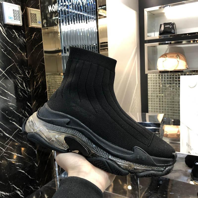 sapatos femininos sapatos de designer de moda masculina de alta-top de malha transparente fundo confortáveis treinamento de velocidade inferior calçado desportivo botas grossas