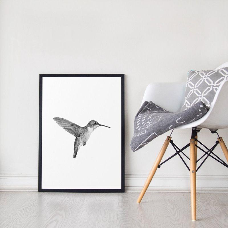 Bird Print Minimalist Wall Art Picture Canvas Painting Black and White Hummingbird Photography Scandinavian Poster Home Decor