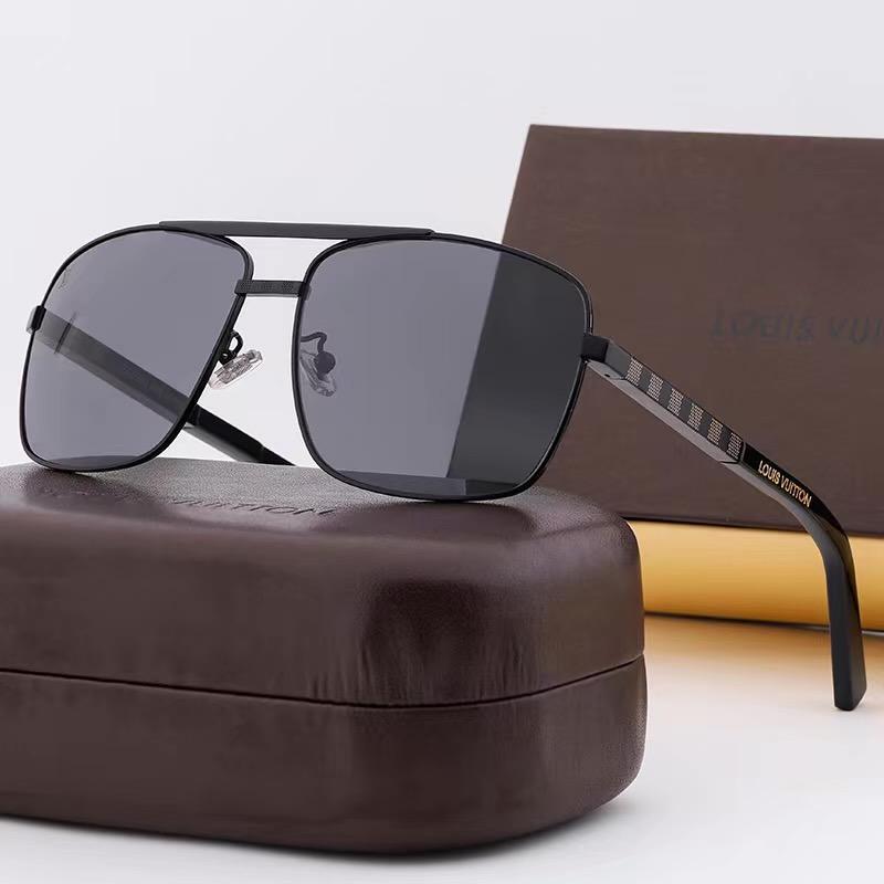 последние продажи популярным модельером L мужские солнцезащитные очки квадратной пластины роскошь сочетание металлического каркаса верхнего качества UV400 объектива V