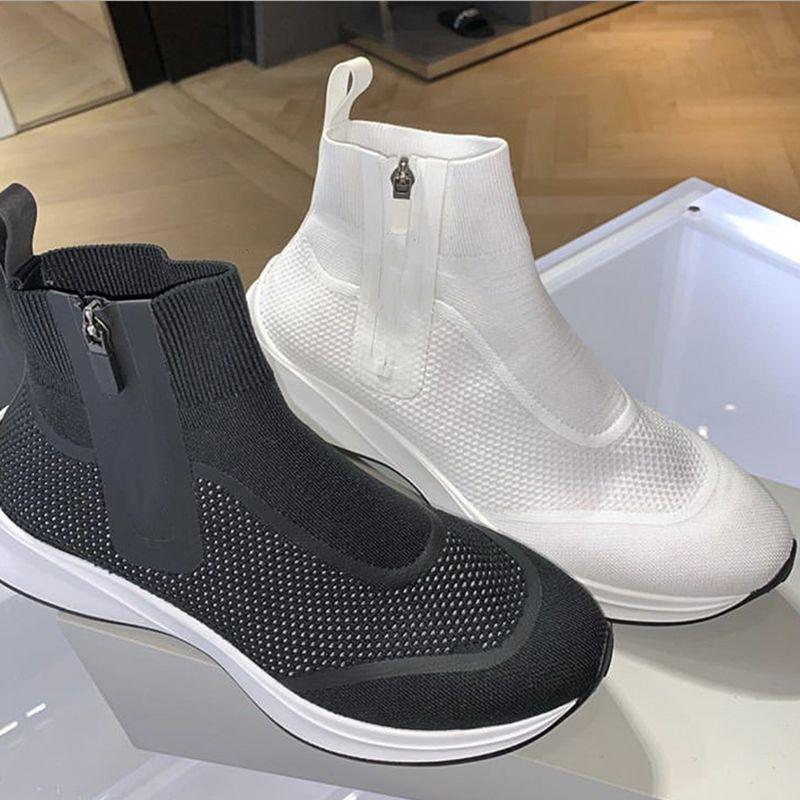 B25 high-top das mulheres dos homens Designer de sapatos malha de borracha Tecido sloe Neo fechamento sneaker zip brancas instrutor Plataforma Shoes 4 cores 35-45