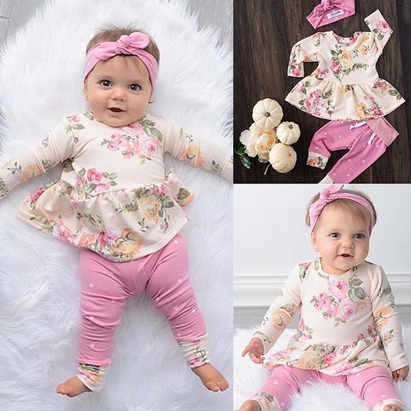 2020 Nuevamente forme otoño infantil linda de los bebés arropa sistemas 3PCS impresión floral vestido largo de color rosa Tops + Pants + Headband vestimenta 0-24 M