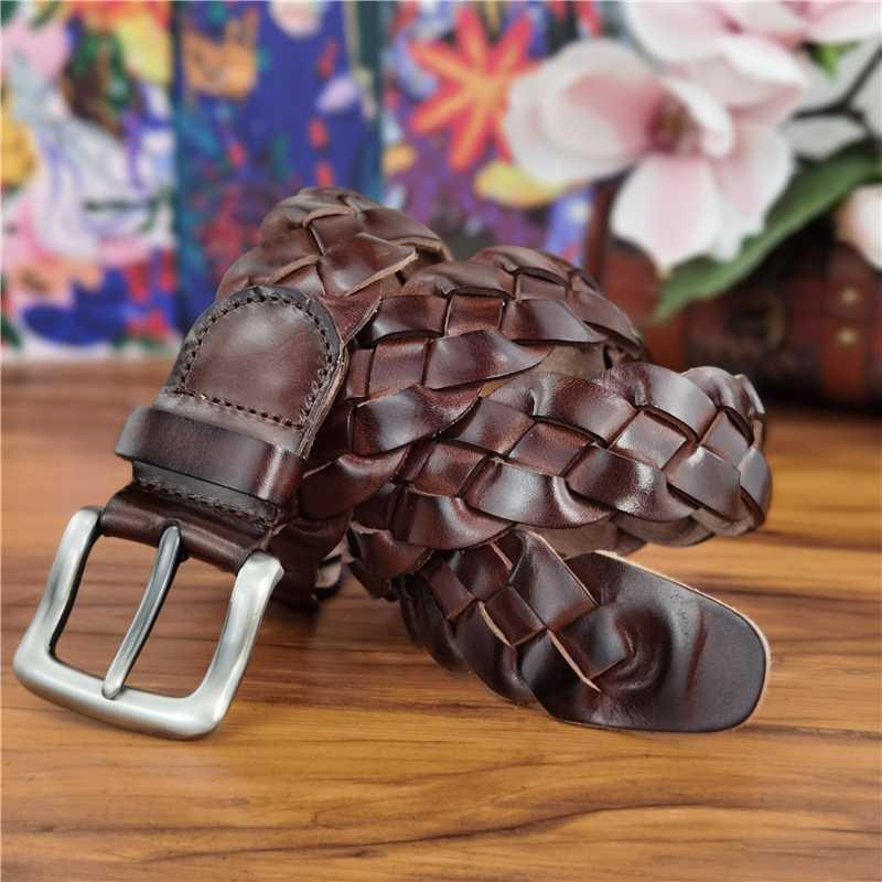 Vintage Женские пояса Плетеный пояс Роскошные Кожа мужчины Ceinture Реальные кожаные ремни для женщин талии трикотажное Lady MBT0508