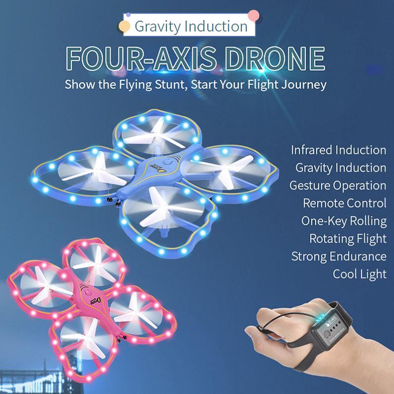Jungen Drohne UFO Spielzeug Geste Iduction Vierachse Kontrolle Remote Drohne Kühle elektronische Licht Gravity Kids Quadcopter Modell Sensing RC Geschenk Frosch