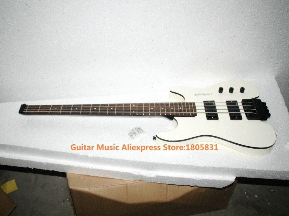 Vente en gros blanc 4 cordes NO tête basse électrique sans tête basse Guitare OEM Gaucher guitares électriques Guitare électrique De B C43D #