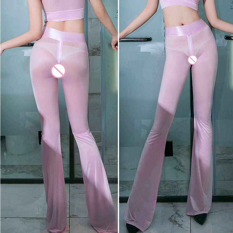 Seksi Parlak Fermuar Açık Kasık Flare Pantolon Hollow Out Crotchless Pantolon F20 sayesinde Seksi Kalça Capris Yüksek Bel See Smooth