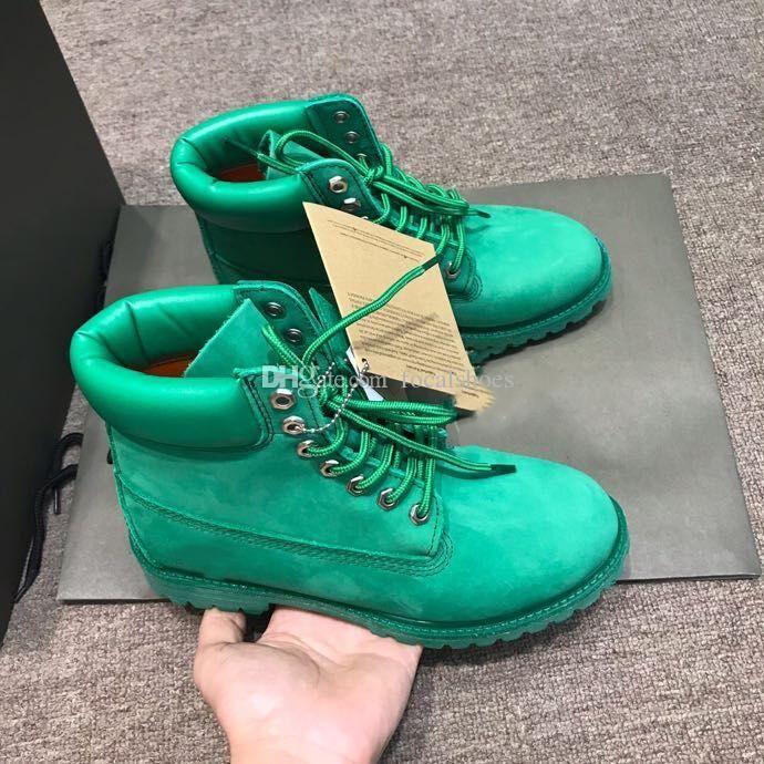 Nouveau cuir vert Martin Boot Hommes Chaussures Femmes cheville Bottes Luxe Street Style Designer Chaussures plates en daim bottes moto