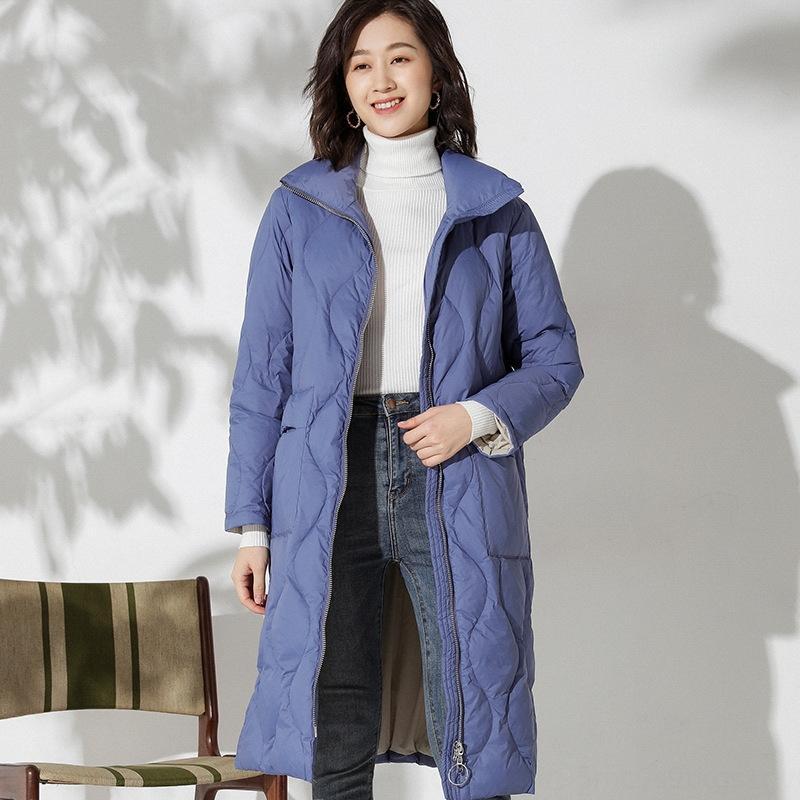 basamento di modo cappotto collare piumino piumino femminile 2019 Inverno nuova coreana sciolto sottile semplice di lunghezza media modo del cappotto Overknee