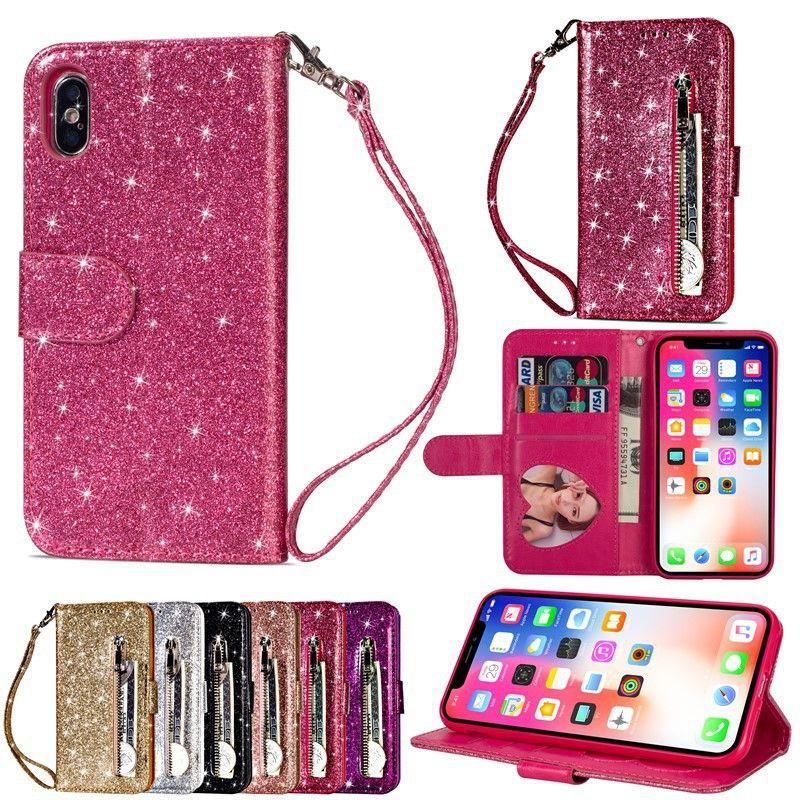 Glitter bling silicone téléphone pour iPhone 11 Pro Max X XS Max XR 7 8 6 Fermeture à glissière 6S plus SE2 PU cuir Portefeuille fente pour carte Titulaire COUVERTURE