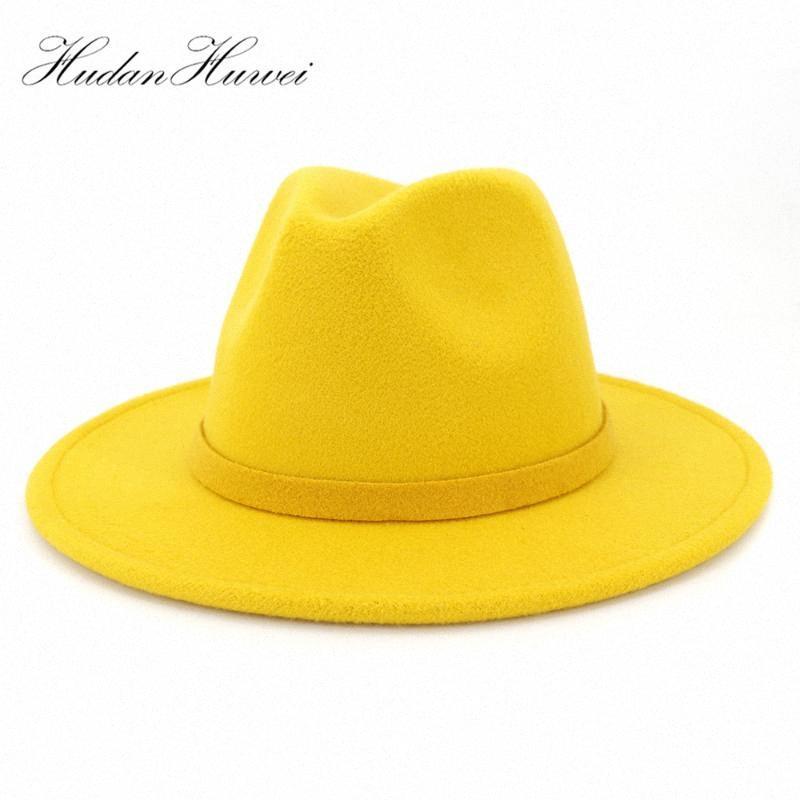 Hombres Mujeres tendencia del jazz del sombrero de ala retro del estilo de Panamá Partido sombrero flexible sombrero de ala ancha color sólido de lana blanca sombrero de fieltro formal 60 CM eGFw #