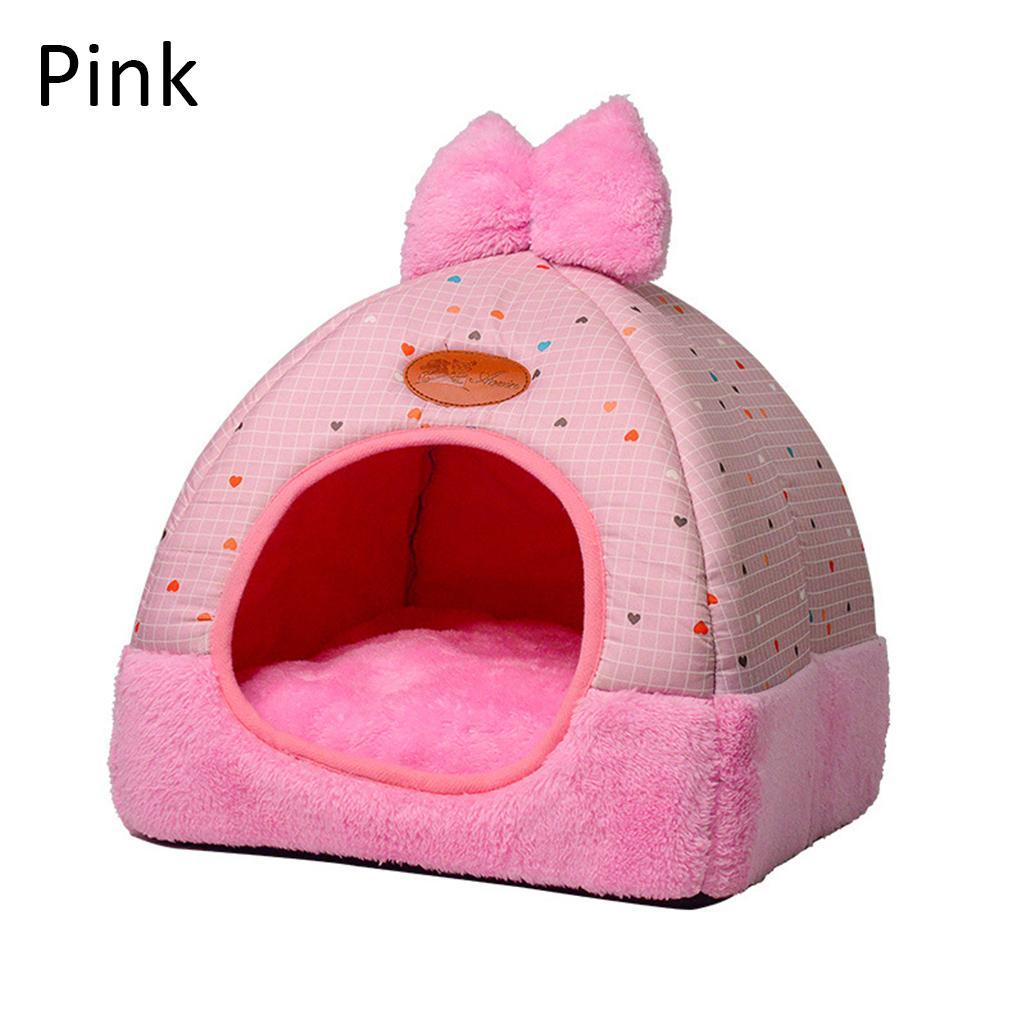 Reizende Haustier-Katzen-Warm-Höhle Schönes Bow Design Welpen-Winter-Bett-Haus-Hundehütte Fleece Soft-Nest für Small Medium Hundehaus für Katze A10 Y200330