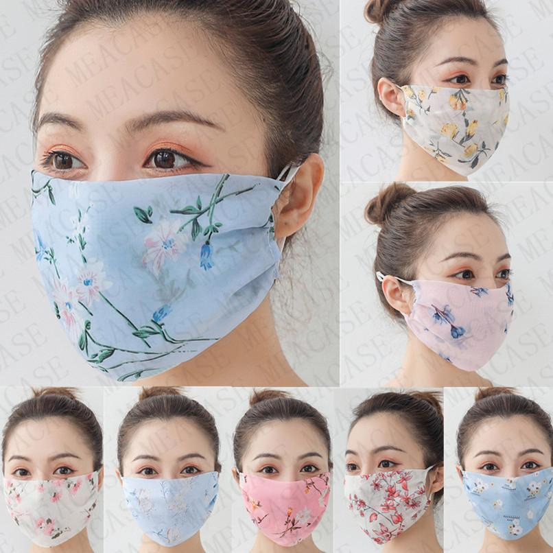 Kadınlar Tasarımcı Yüz Maskeleri şifon Çiçek Güneş kremi Yaz Açık toz geçirmez Nefes Anti-ultraviyole Çift Katmanlı Kapak D72807 Maskesi
