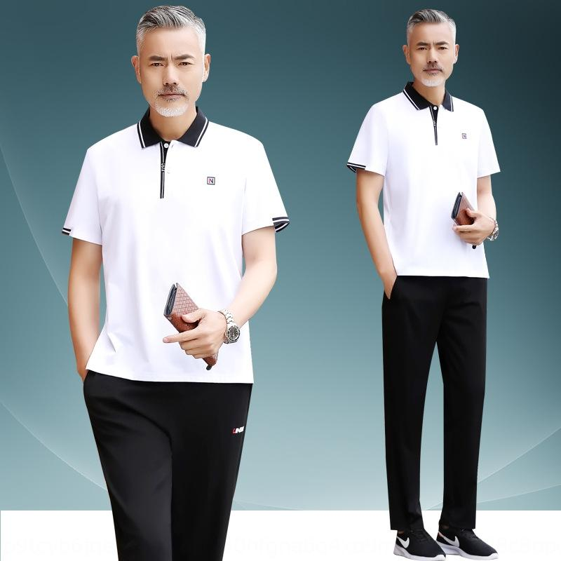 EGmgC среднего возраста мужчин папа лето футболки спортивной костюм с короткими рукавами футболки свободные случайные среднего и пожилого возраста дедушка костюм отворота спо