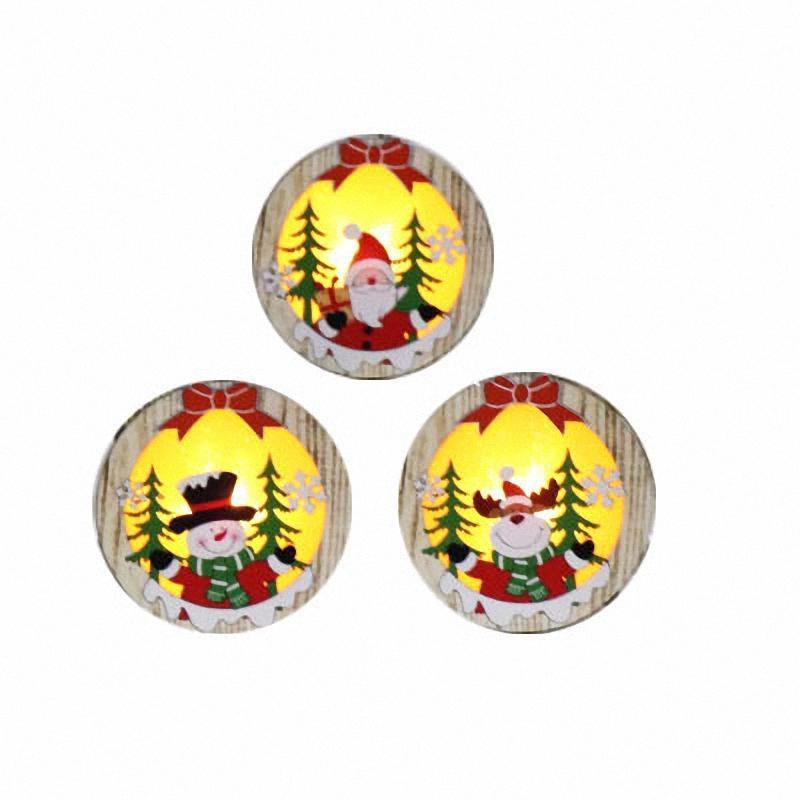 3pcs Ronda de decoración de Navidad colgando de la lámpara de madera del ornamento Elk muñeco de nieve de luz LED Papá Noel de los ciervos de la compra Lámpara luminosa