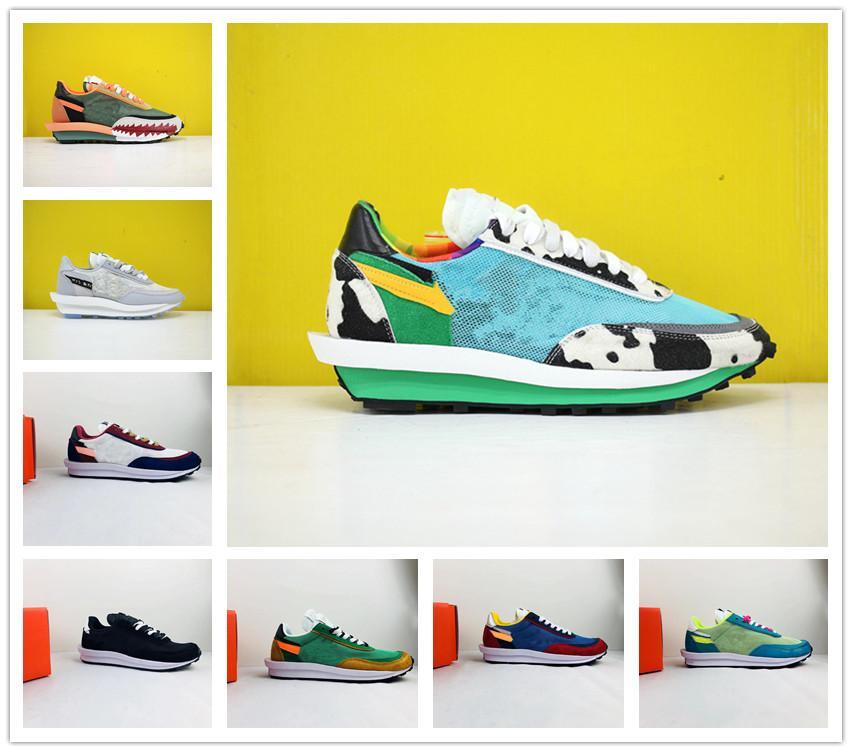 LDV última galleta de los zapatos corrientes de los hombres de las mujeres baratas Triple Negro de nylon blanco Gusto Varsity Blues Al aire libre Deportes zapatillas de deporte Tamaño 36-45