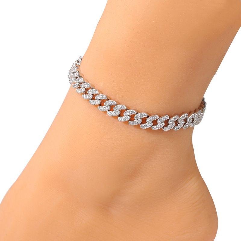 Fashion Womens ANKLETS Braccialetto ghiacciato a catena di collegamento cubani braccialetti oro argento rosa diamante diamante gioielli hip hop