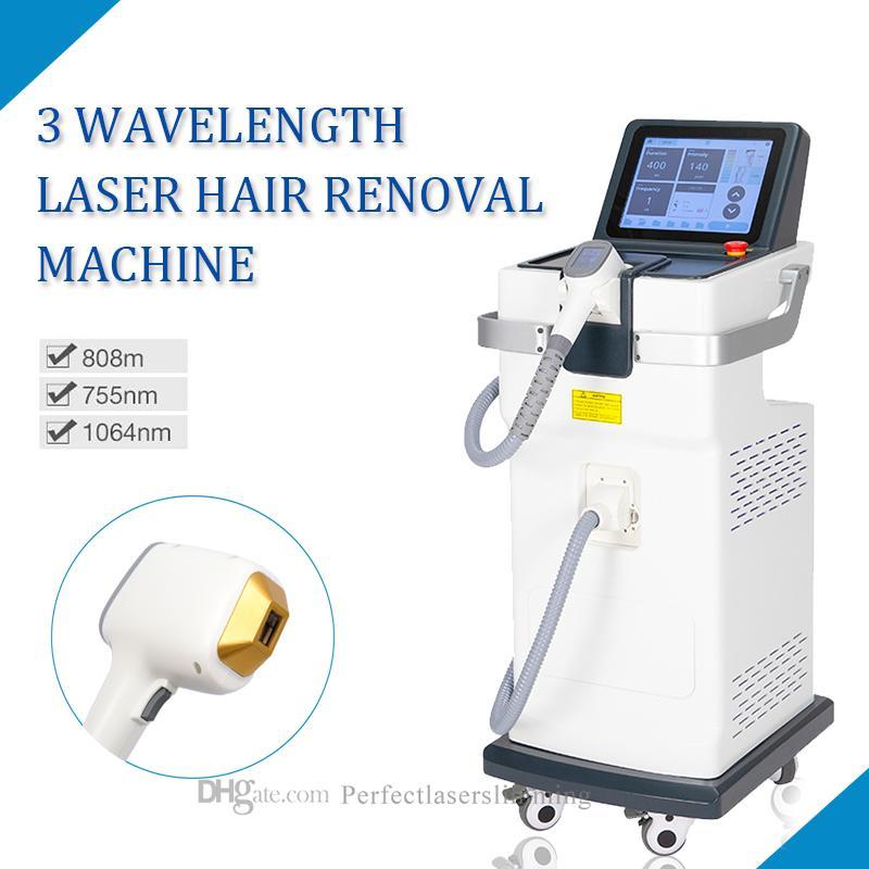 Stand 755nm 808nm 1064nm 3 Wellenlänge Haarentfernungsmaschine 808nm Diodenlaser Haarentfernung FDA CE-Zulassung