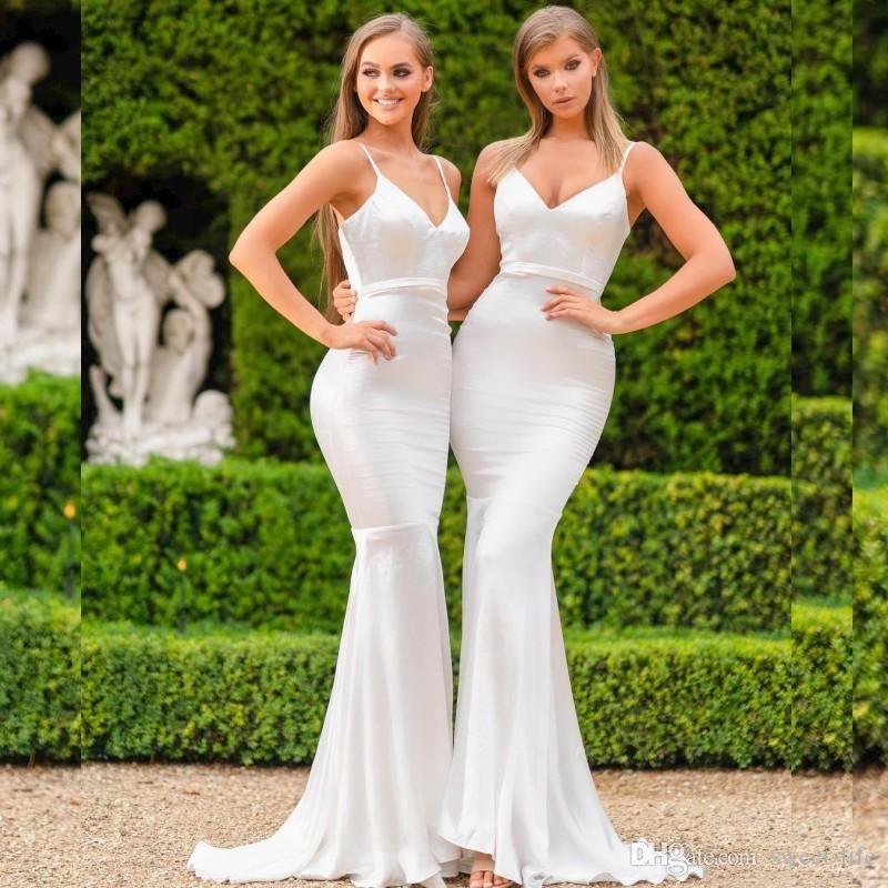 2021 Spaghetti Straps Silk Like Satin Mermaid Long Bridesmaid Dresses Country Floor Length Wedding Guest Maid of Honor Vestidos De Festa