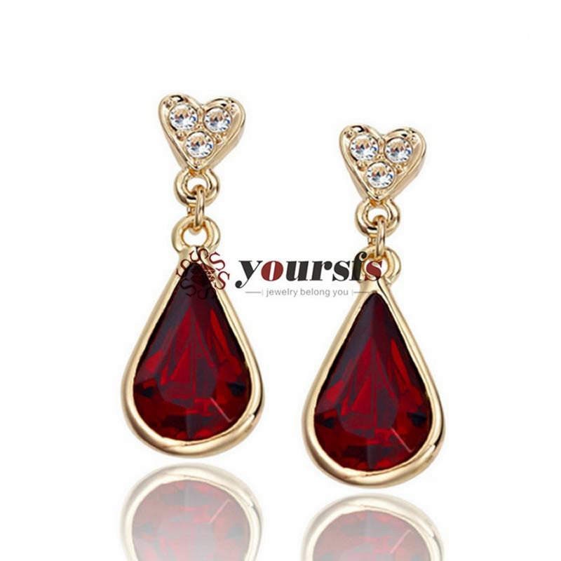 Yourfs Mode-sieraden 18K Vergulde Rood Groen Zirkoon Stud Oorbellen Hanger Vrouw Verjaardag Verjaardagscadeau