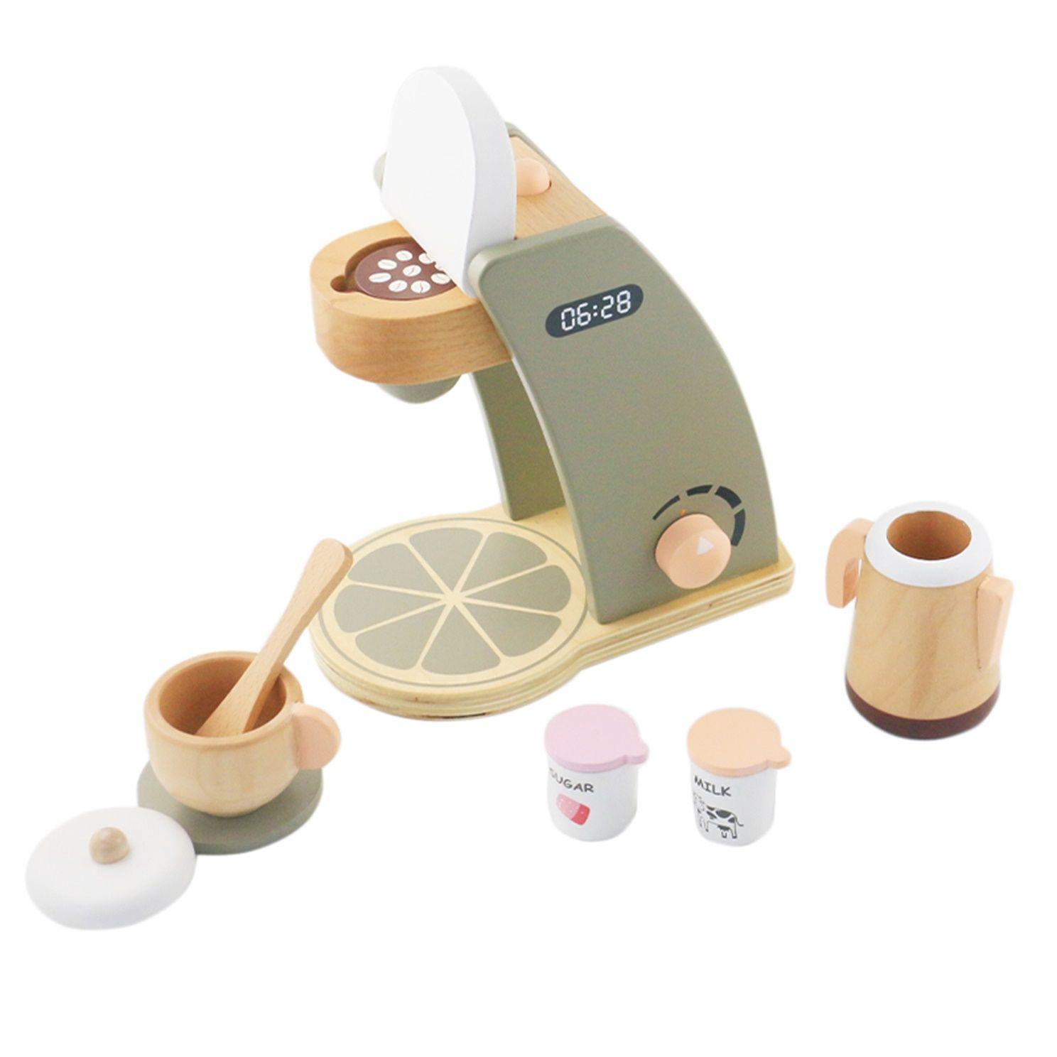 خشبية لعب اطفال آلة القهوة للأطفال والأطفال مطابخ وتلعب الأغذية اللعب بتقمص الأدوار واللباس متابعة