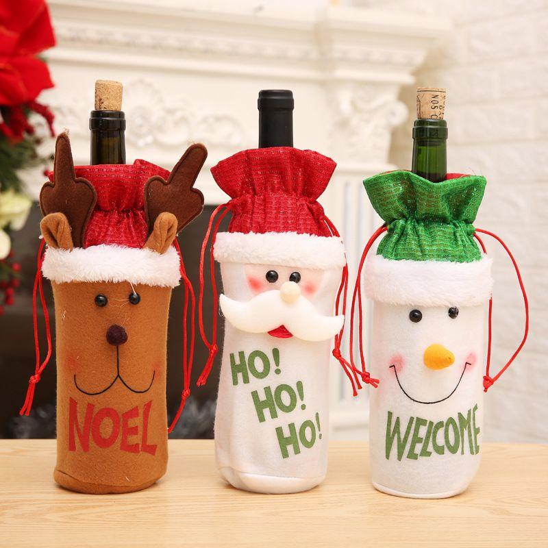 Бесплатная доставка снеговика Xmas Декор Домашнее украшение Новогоднее украшение 2018 Санта-Клаус бутылки вина Обложка Подарок Санта мешок бутылки Держите мешок