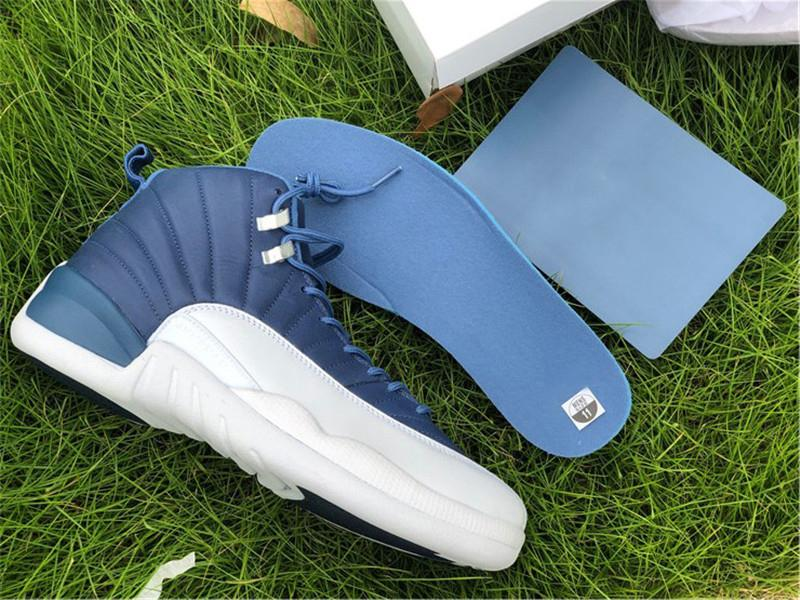 2020 Air Authentique 12 Indigo Pierre Bleu Legend Bleu Obsidian Basketball Chaussures Hommes réel en fibre de carbone de plein air Chaussures de sport avec la boîte