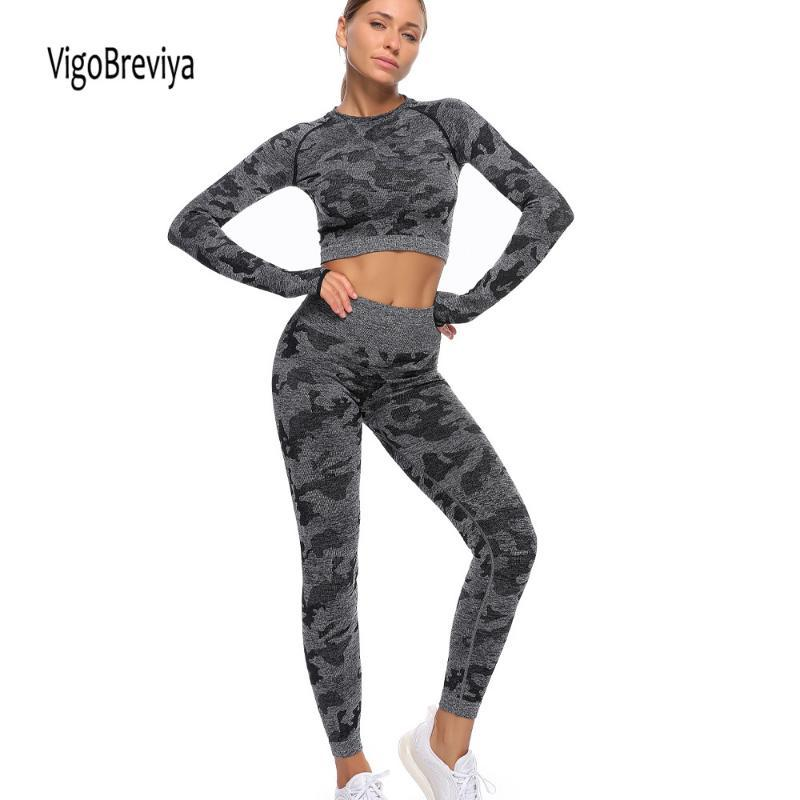 Yoga Outfits VigoBreviya Seamless Set Crop Sports Top And Leggings Women Print Jogging Gym Workout Tights Fitness Active Suit