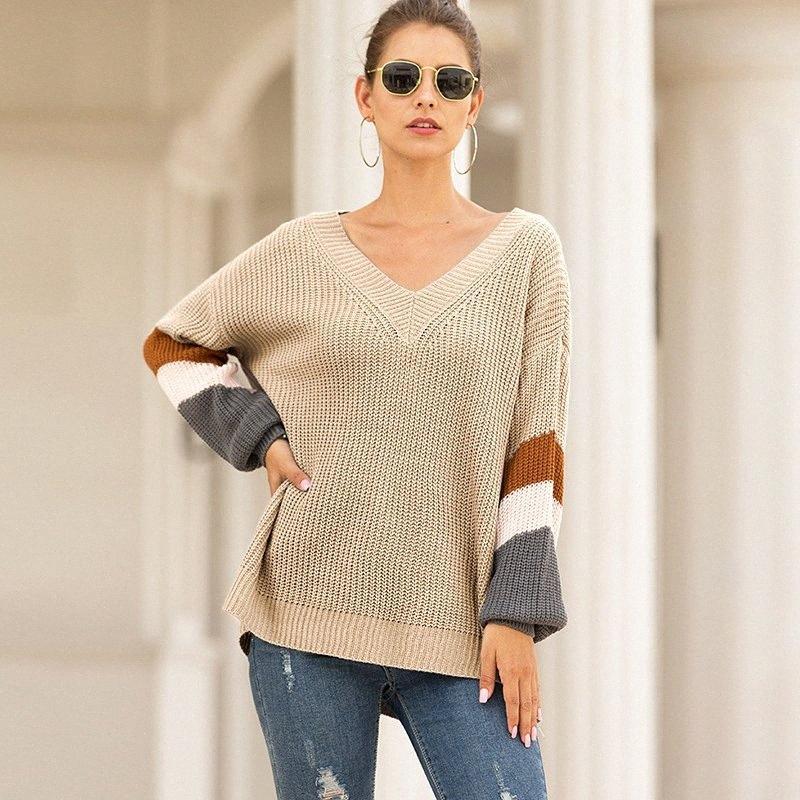 pescoço V Casual camisola de malha mulheres jumper de tarja Lanterna manga tricô puxar femme 2019 outono inverno pulôver feminino DSY6 #