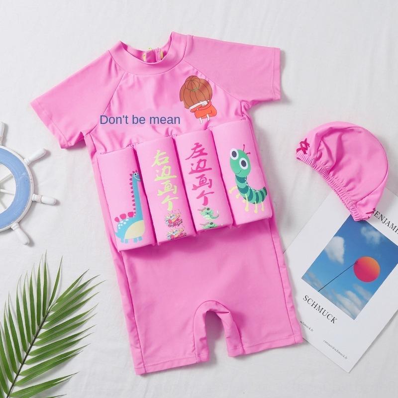 flottabilité FXNbi maillot de bain mignon d'une seule pièce dessin animé protection solaire à manches courtes bébé féminin flottant maillot de bain fille vêtements pour enfants les enfants de