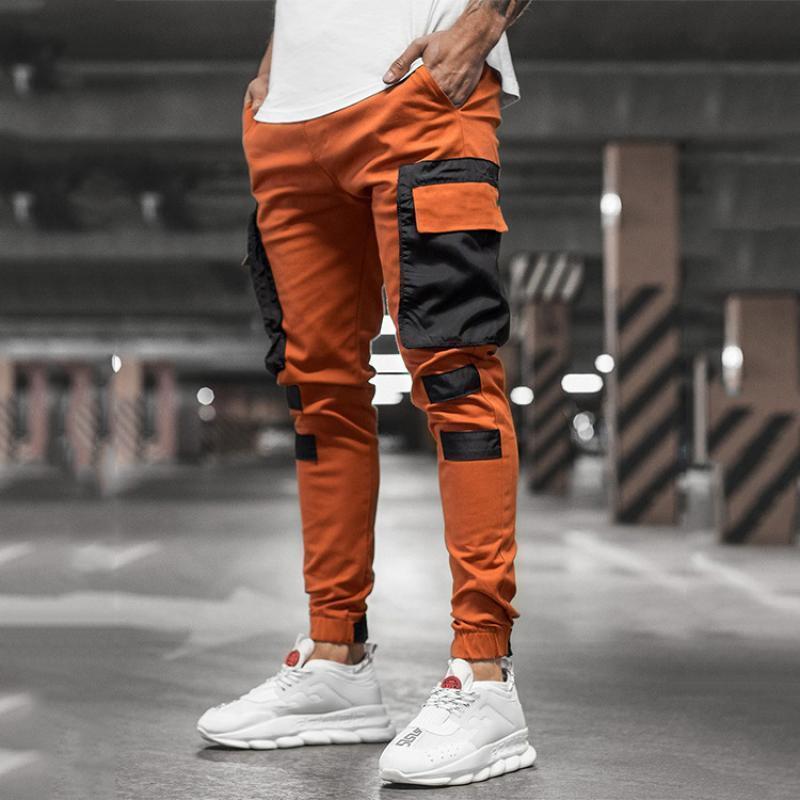 Pantalones de carga CHRLEISURE ocasional de los hombres del remiendo Joggers Pantalones de Hip Hop de los hombres de moda de Corea del punk pantalones sueltos Streetwear CX200729
